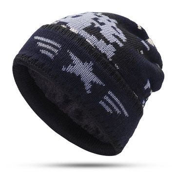 Mens Crimped Winter Plus Velvet Warm Slouchy Knit Hat