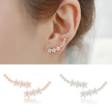 Trendy 925 Silver Needle Star Inlay Zircon Crystal Stud Earrings Jewelry for Women