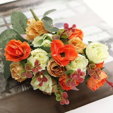 1 Bouquet 21 Heads Artificial Rose Flowers Leaf Home Party Wedding Craft Decorations