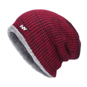 Mens Thick Knitting Warm Skull Caps Outdoor Lining Coral Fleece Slouchy Beanie Hat Scarf Sets