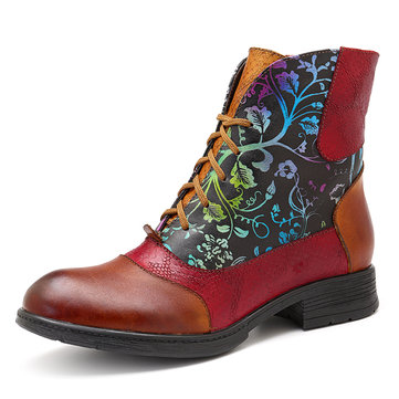 SOCOFY Stitching Pattern Zipper Boots
