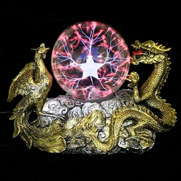 Gold Dragon Phoenix Base Plasma Ball Magic Table Lamp Sphere Tesla Light