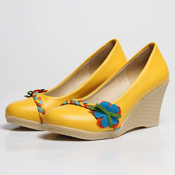 Casual Comfortable Slip On Wedge Heel Flats Shoes