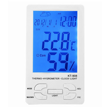 KT908 LCD Digital Thermometer Hygrometer Alarm Clock Home Electronic Temperature Humidity Meter with Backlight