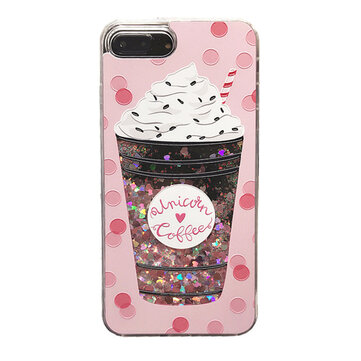 3D Cartoon Glitter Quicksand Drink Bottle Ice Cream Shiny Bling Case for iPhone 6/6s plus 7/7Plus 8/8Plus