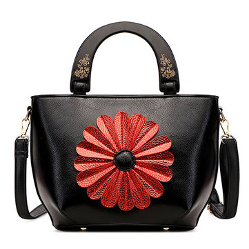 Brenice Women National Faux Leather Flower Handbag