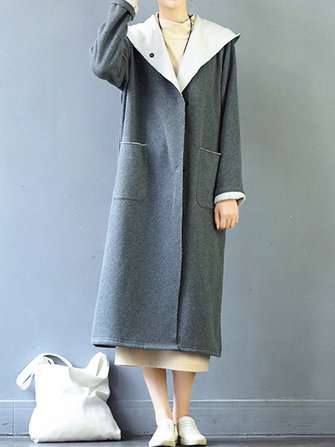 M-5XL Women Button Long Hooded Coat
