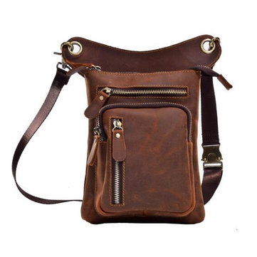 Multi-functional Vintage Genuine Leather 8 Inch Phone Bag Waist Bag Leg Bag Crossbody Bag For Men