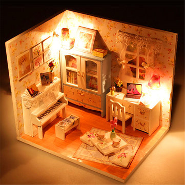 Hoomeda DIY Wood Dollhouse Miniature With LED+Furniture+Cover Doll House Room