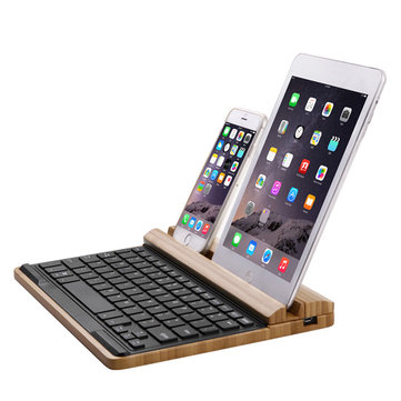 SEENDA IBK-09D Universal Bamboo Wireless Bluetooth Keyboard With Mobile/Table Stand Holder