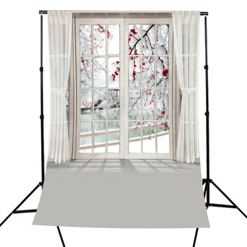 5x7FT Photography Backdrop Blossom Flower Window Curtain Studio Photo Background