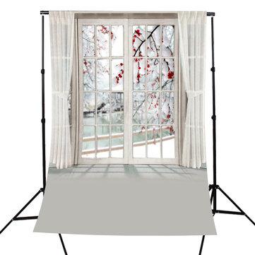 5x7FT Photography Backdrop Blossom Flower Window Curtain Studio Photo Background
