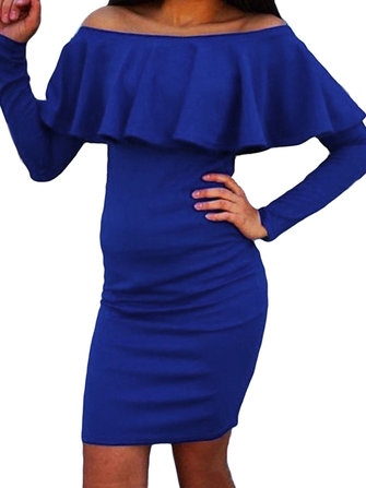 Sexy Women Ruffles Solid Color Off Shoulder Bodycon Pencil Dress