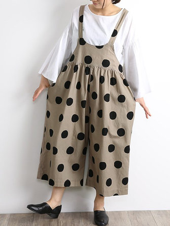 Japanese Women Cotton Polka Dot Print Loose Jumpsuit