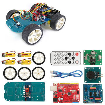 4WD Wireless IR Remote Control Smart Car Arduino Kit for ATmega328P UNO R3 with IR Controller/UNO R3 Motherboard/TT Motor