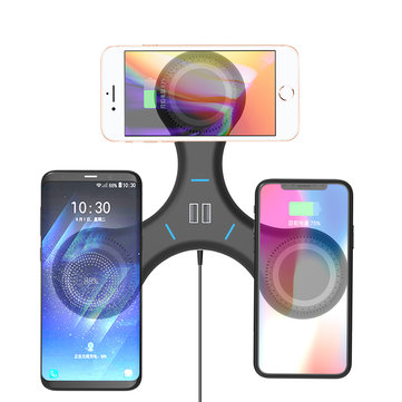 Bakeey Gyro T200 3X Qi Wireless Charger Pad Dual USB Multi-device Charging Hub for iPhone X S9 S8