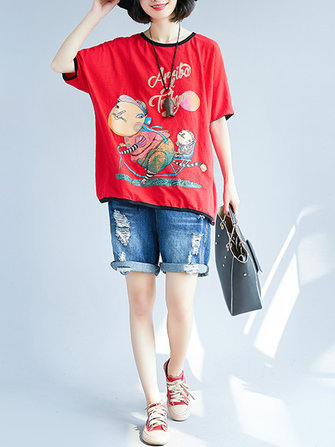 Plus Size Casual Cartoon Batwing Sleeves T-shirts