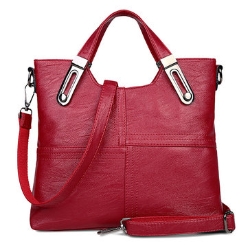 Women Stitching Retro Handbag Large Capacity Crossbody Bag