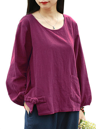 Vintage Women Scoop Neck Solid Color Pocket Button Blouse