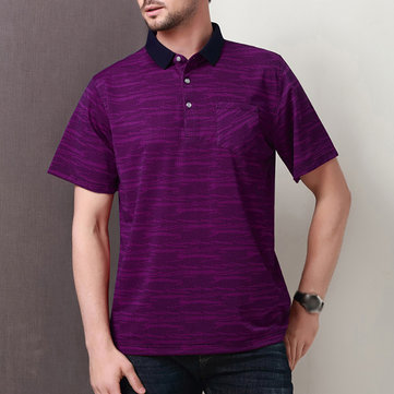 Mens Mercerization Silk Solid Color Comfy Golf Shirt