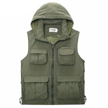 Mens Mesh Outdooors Photographie de pêche mince et décontractée Multi Pocket détachable veste à capuche