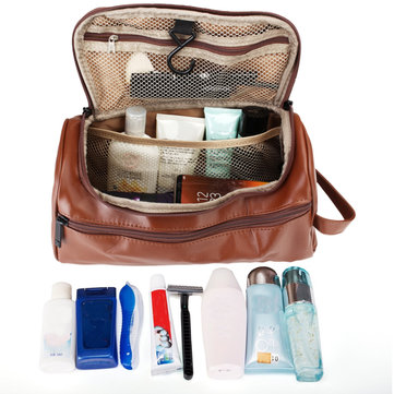 Leather Toiletry Bag Men Large Shaving Brush Cosmetic Travel
