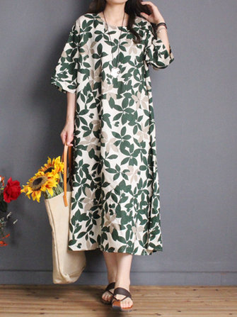 Leaf Print Loose O-neck Half Sleeve Dress For Women