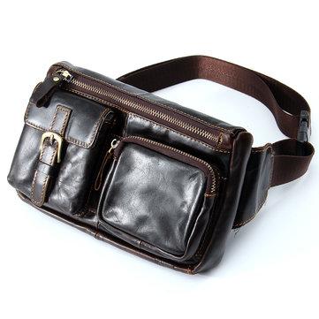 Men Vintage Genuine Leather Travel Motorcycle Rider Belt Hip Pack Waist Bag