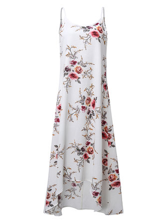 Women Sexy Spaghetti Strap Floral Printed Irregular Hem Dress