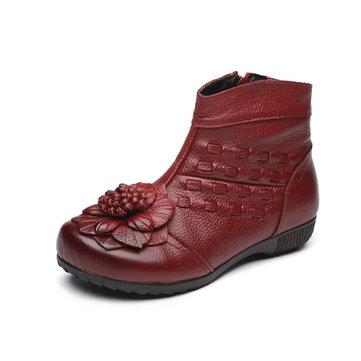 Handmade Kintting Flower Fur Lining Vintage Ankle Short Boots