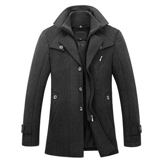 Mens Winter Thickened Warm Faux Two Pieces Woolen Overcoat