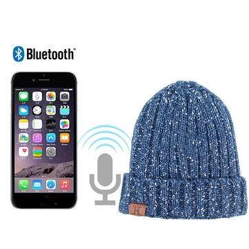 Mens Wireless Bluetooth Knitted Beanie Hat Warm Headset Speaker Mic Hand-free Music Smart Caps