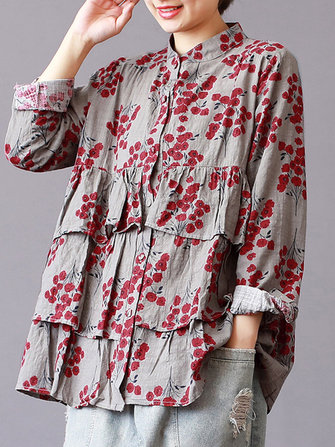 Floral Printed Stand Collar Long Sleeve Vintage Blouse