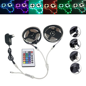 10M SMD 3528 Waterproof RGB 600 LED Strip Light + Controller + Cable Connector + Adapter DC12V