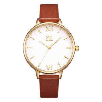 SK K0056 Simple Design Ladies Wrist Watch Casual Style Leather Strap Quartz Watches