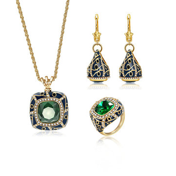 Luxury Emerald Crystal Cocktail Ring Vintage Necklaces Drop Earrings Bridal Jewelry Set for Women