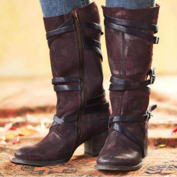 Plus Size Vintage Buckle Straps Casual Zipper Mid Calf Boots
