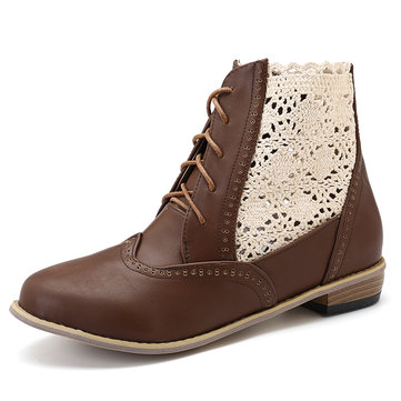 Large Size Stitching Hollow Out Lace Up Ankle Boots