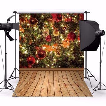 3x5ft Christmas Theme Tree Gift Ornament Wooden Photo Vinyl Background Backdrop Studio Props