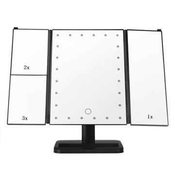 Cosmetic Table Tri-Fold Makeup Mirrors Magnifying LED Light Dimmable Touch Screen