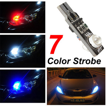 T10 6W 2SMD Multi-color Multi-mode LED Flash Lamp Car Strobe Side Marker Door Light Bulb
