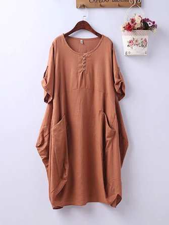 Plus Size Casual Crew Neck Short Sleeve Pockets Baggy Dress