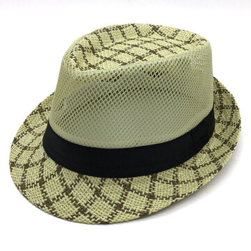 Mens Summer Mesh Woven Straw Jazz Hat Outdoor Plaid Wild Brimmed Hat Visor