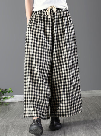 Women Casual Elastic Waist Loose Plaid Wide Leg Pants
