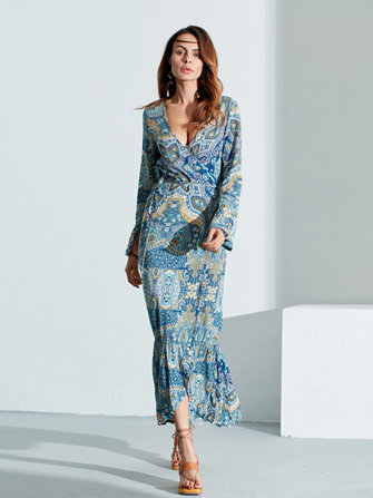 Sexy Women Long Sleeve Floral Irregular V-Neck Bell Sleeve Long Dress