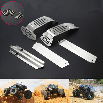 1 Set Stainless Steel Chassis Protector Guard Armor Front & Rear Skid Plate for Traxxas 1/5 X-Maxx