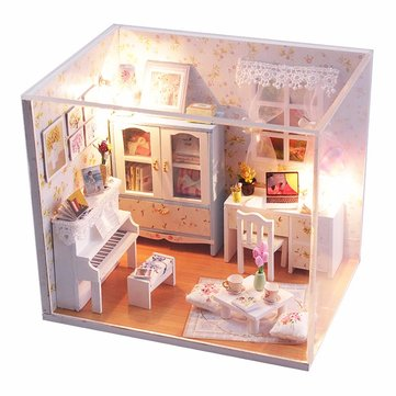Hoomeda DIY Wood Dollhouse Miniature With LED+Furniture+Cover