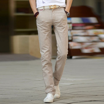 Pure Color Breathable Soft Linen Cotton Trousers