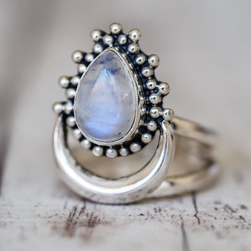 Unisex Retro Antique Silver Ring Vintage Moonlight Gem Rings