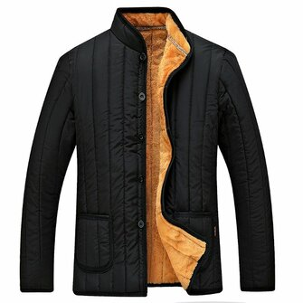 Mens Winter Black Fleece Thick Warm Stand Collar Jacket